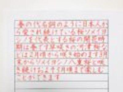 「字、きれいになった!?と主人から褒められました♡」ペン字6回コース・よこがき4月のお手本